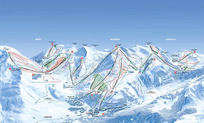 Mapa de pistas de la estación de Baqueira
