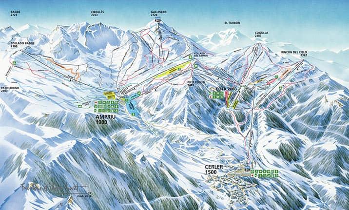 Mapa de pistas de la estación de Cerler