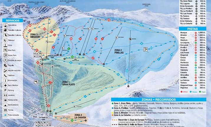 Mapa de pistas de la estación de la Pinilla